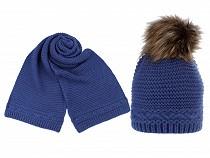 Ladies Winter Set Hat with Pom Pom and Shawl