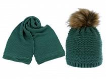 Damen Winterset Mütze mit Bommel und Schal