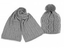 Dámska zimná sada čiapka s brmbolcom a šál