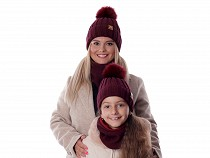 Ladies / Girls Winter Hat with Pom Pom and Snood