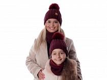 Damen / Mädchen Winterset Mütze mit Bommel und Halswärmer