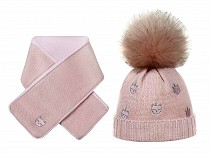 Girls Winter Hat & Matching Shawl Set, Cat