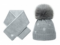Girls Winter Hat & Matching Shawl Set, Cat