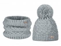 Dievčenská zimná sada čiapka s brmbolcom a nákrčník