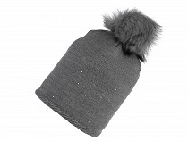 Ladies Winter Hat with Pom Pom and Lurex