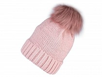 Ladies Winter Hat with Pom Pom and Lurex