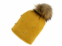 Ladies Winter Hat with Pom Pom and Beads