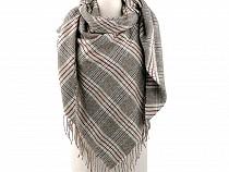 Großer warmer Schal / Plaid mit Fransen 135x135 cm