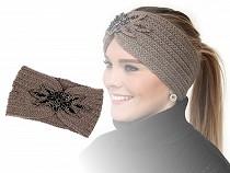 Bandeau d'hiver pour femmes avec empiècement orné de perles