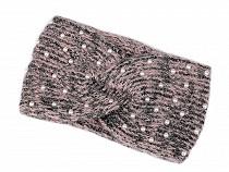 Banderolă tricotată cu lurex și perle