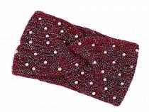 Damen Winter Stirnband mit Perlen und Lurex
