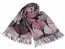 Winter Shawl with Fringe 70x180 cm Ginkgo Biloba