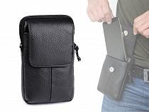 Pánské pouzdro / peněženka na opasek na mobil / doklady, kožené 10,5x17 cm