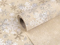 Christmas Fabric with Glitters, Snowflakes width 36 cm