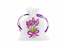 Gift bag with lavender embroidery 8x10 cm