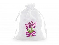 Gift bag with lavender embroidery 12x17 cm