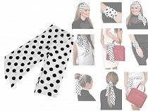 Šátek úzký do vlasů, na krk, na kabelku květy, puntíky