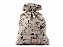 Drawstring Pouch Bag Loneta - Cat, Doodle 20x30 cm