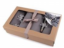Christmas set of napkins and rings with snowflake