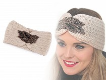 Women's winter headband with beaded applique leaf