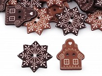 Decorative Button - Bell, Snowflake, House