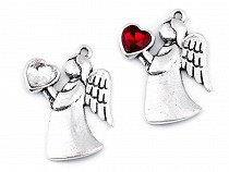 Metal Charm - Angel with Heart 24x36 mm 2nd quality