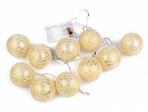 Christmas LED String Lights, Gold Ornaments Ø6 cm