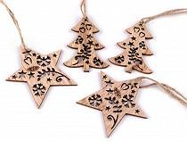 Dekoracja drewniana gwiazda, choinka do zawieszenia