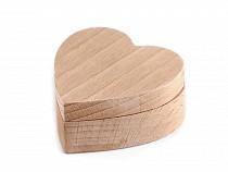 Dřevěná krabička srdce k dozdobení