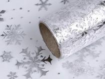 Karácsonyi organza / szalag szélessége 20 cm pehely