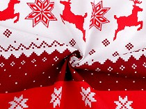 Christmas cotton fabric snowflakes and reindeer
