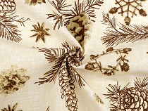 Christmas cotton fabric pinecones