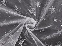 Vánoční organza s glitrovými vločkami 2. jakost