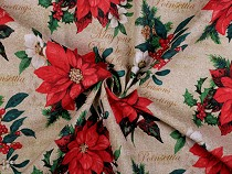 Loneta Decorative F,abric, Poinsettia