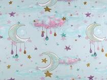 Tkanina bawełniana z pozłacanym nadrukiem chmury i księżyc