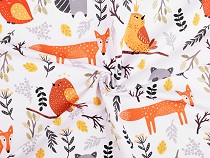 Jersey Knit Fabric Animals - Fox, Raccoon, Bird