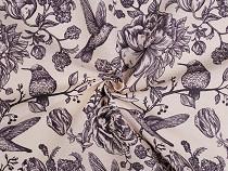 Dekorační látka Loneta květy a ptáci