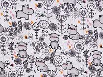 Tkanina pieluchowa bawełniana / muślin hipopotam
