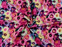 Single Knit Cotton Jersey Fabric with Digital Printing, Flowers