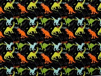Single Knit Cotton Jersey Fabric with Digital Printing, Dinosaurs