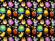Single Knit Cotton Jersey Fabric with Digital Printing, Monsters