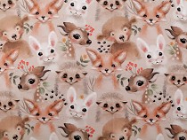 Cotton Jersey Fabric with Digital Printing Forest Animals