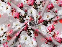 Teplákovina bavlněná nepočesaná s digitálním tiskem květy