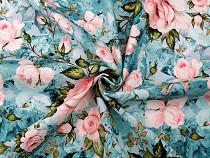 Teplákovina bavlnená nepočesaná s digitálnou potlačou ruže
