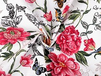 Tissu en coton piqué gaufré, Fleurs, largeur 150 cm