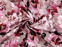 Dzianina dresowa bawełniana nieczesana z nadrukiem cyfrowym kwiaty