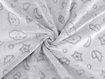 Minky Pluch Fabric smooth / fine Cloud, Star