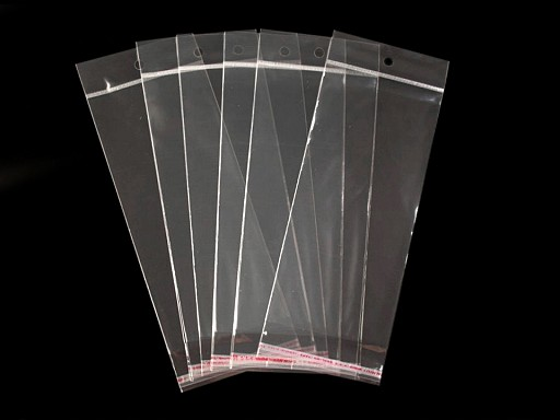 Ragasztócsíkos celofán tasak jellegű BOPP tasak akasztóval 10x22 cm