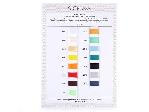 Satin Schrägband vorgefalzt Breite 15 mm Farbkarte