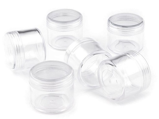 Clear Plastic Jar 3.2x3.8 cm with screw lid